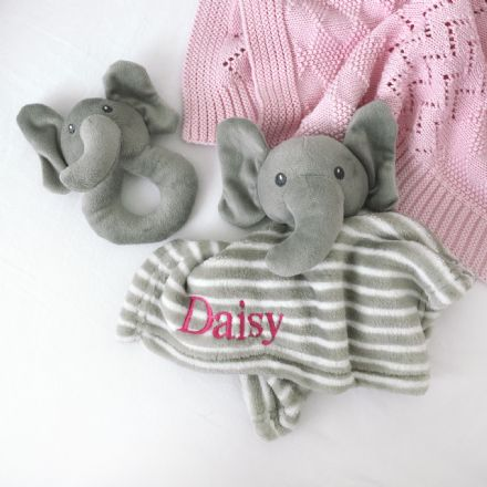 Personalised Elephant Comforter And Rattle